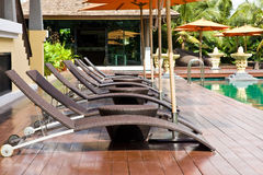 Swimming pool and Bali style Stock Photography