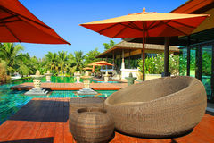 Swimming pool and Bali style Stock Photo