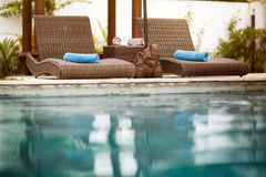 Swimming pool, Bali style Royalty Free Stock Image