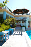 Swimming pool and bar at the luxury hotel Royalty Free Stock Photos