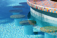 Swimming pool bar stools Stock Images