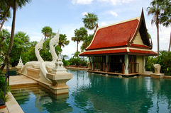 Swimming pool and bar in tradional Thai style Royalty Free Stock Photos