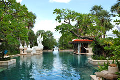 Swimming pool and bar in tradional Thai style Stock Photography