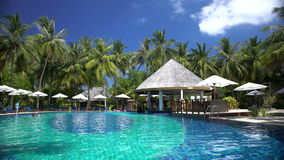Swimming pool with a bar on a tropical resort. stock video footage