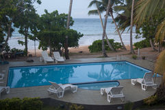 A Swimming Pool at a Beach Resort in Sri Lanka Stock Photo
