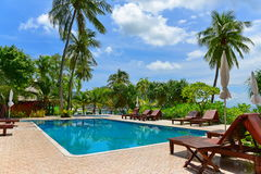 Swimming pool of a beach resort on a tropical island in Krabi. Thailand Royalty Free Stock Photo