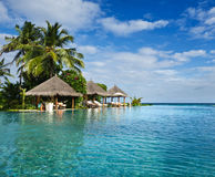 Swimming pool in beach resorts Royalty Free Stock Images
