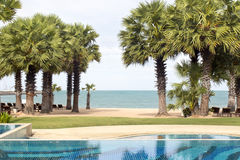 Swimming pool in beach resorts Royalty Free Stock Photography