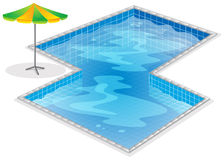 A swimming pool with a beach umbrella Stock Photography