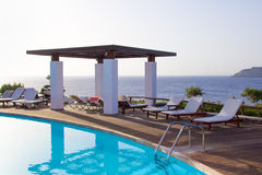 Swimming pool with beautiful sea view on Crete island Stock Photography