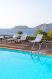 Swimming pool with beautiful sea view Royalty Free Stock Images