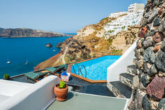Swimming pool with beautiful sea view Royalty Free Stock Photography