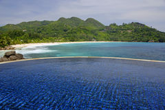 Swimming pool, belonging to a Hotel Room of the Banyan Tree Hotel, Anse Intendance, Mahe`, Seychelles Stock Photography