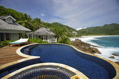 Swimming pool, belonging to a Hotel Room of the Banyan Tree Hotel, Anse Intendance, Mahe`, Seychelles Stock Photos