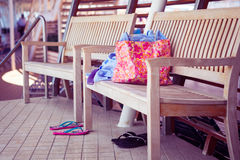 Swimming pool belongings Stock Photo