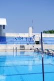Swimming pool in blue sky. Standard swimming pool with summer blur sky stock images
