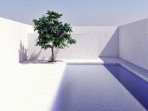 Swimming pool with blue sky sun tree computer generated image 3d stock photos