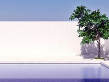 swimming pool with blue sky sun tree computer generated image 3d rendering illustration royalty free stock image