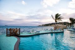 Swimming pool and panoramic sea view in Philipsburg, Sint Maarten Royalty Free Stock Photography