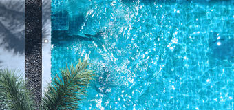 Swimming pool blue water. Royalty Free Stock Images