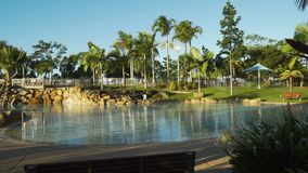 Swimming pool of bluewater lagoon in Mackay, Queensland, Australia stock video footage