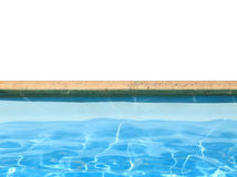 Swimming pool boarder with blue water isolated. On white Royalty Free Stock Photos
