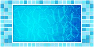 Swimming pool bottom caustics ripple and flow with waves background. Texture of water surface. Overhead view. Vector stock image