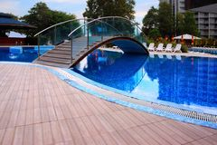 Swimming Pool with Bridge Stock Photography