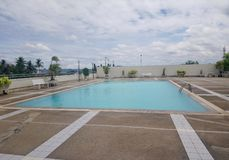 Swimming. Pool built on the rooftop of a building Royalty Free Stock Images