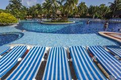Swimming pool in Cancun, Riviera Maya, Mexico. Blue Swimming pool in Cancun, Riviera Maya, Mexico stock photos