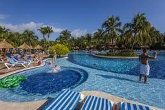 Swimming pool in Cancun, Riviera Maya, Mexico. Blue Swimming pool in Cancun, Riviera Maya, Mexico royalty free stock photography