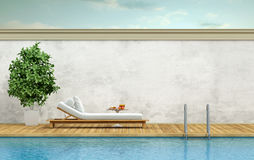 Swimming pool with chaise lounge. Minimalist swimming pool with white chaise pool lounge - 3d rendering Stock Image