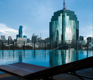 Swimming pool with cityscape. Swimming pool with cityscape background Stock Photo