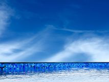 Swimming pool and clear blue sky cloud stock photography
