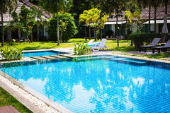 Swimming pool with clear water. Swimming pool with reflection of trees in it Royalty Free Stock Images