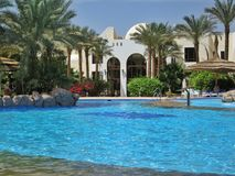 Swimming pool in club el Faraana. The pool with an artificial wave in hotel of Egypt, landscaping, rest in the resort of the Red Sea hit into Naama Bay in Sharm Stock Photography