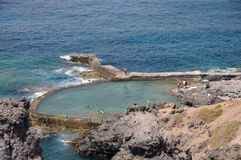 Swimming pool on the coast stock photo
