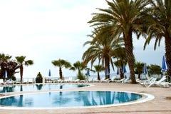 Swimming pool on the coast of Turkey. Royalty Free Stock Photos