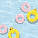 Swimming pool with colorful floats, top view vector illustration vector illustration
