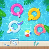 Swimming pool with colorful floats, top view vector illustration. Kids inflatable toys flamingo, duck, donut, unicorn. Summer fun background stock illustration