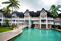 Swimming pool within compound. Landscape swimming pool within compound of tropical resort hotel Stock Images