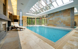 Swimming pool in a country house or mansion Stock Photos