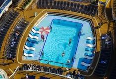 Swimming pool on cruise ship stock photo