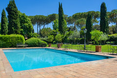 Swimming pool and cypresses, the villa. Swimming pool and cypresses, sunny day without people Royalty Free Stock Photo