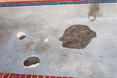 Swimming Pool Damage. Cement broken Royalty Free Stock Images