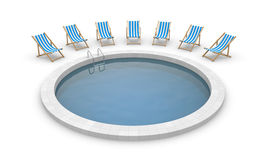 Swimming pool and deck chairs Royalty Free Stock Photos
