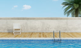 Swimming pool  with deckchair Royalty Free Stock Photos