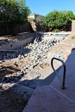 Swimming pool demolition. Empty residential swimming pool under demolition Stock Photo