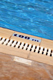 Swimming pool depth sign Stock Photos