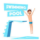 Swimming pool with a diving board. Cartoon Vector illustration. Stock Photos